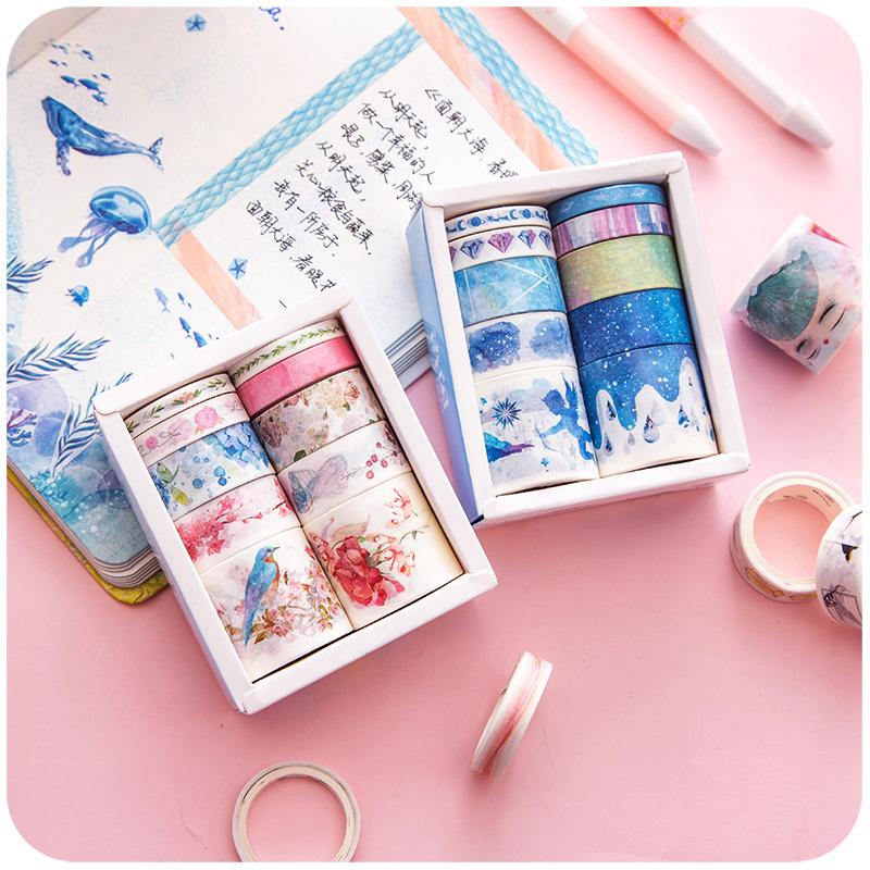 少女心和紙手賬紙膠帶可愛彩色網紅素材手帳工具印花膠布貼紙套裝¥7.57