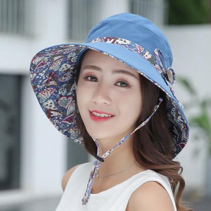 遮陽帽女夏天防曬防紫外線太陽帽子戶外騎車遮臉韓版百搭漁夫帽潮¥35.00