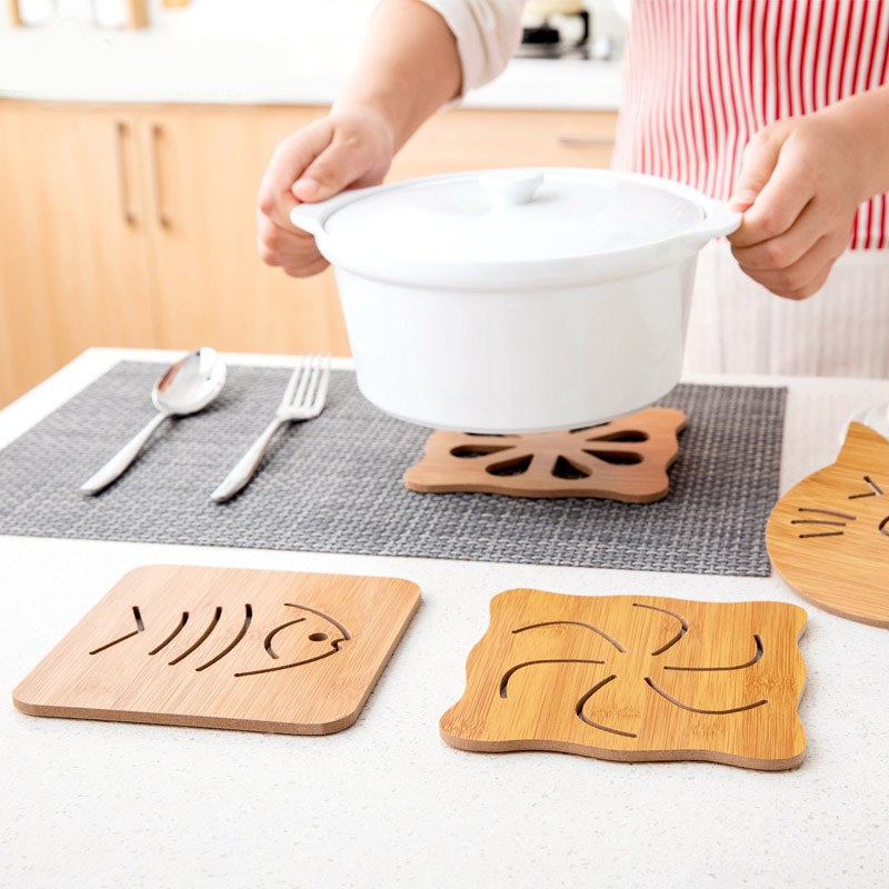 居家家木質卡通隔熱墊餐桌墊防滑鍋墊創意可愛墊子茶杯墊碗墊杯墊¥0.75