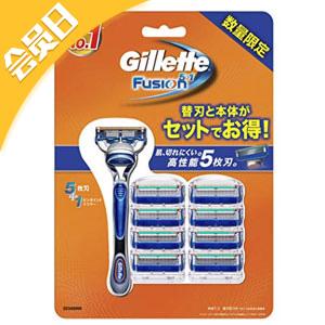 Gillette吉列 Fusion5 手動剃鬚刀(含1刀架+9刀頭)閃購價2356日元+30積分