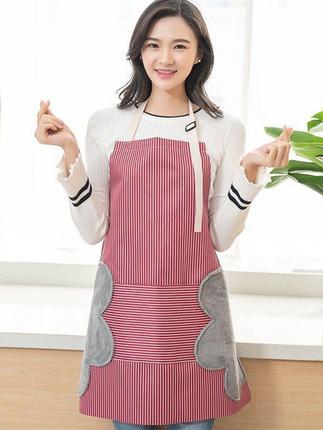 可擦手圍裙女時尚可愛防水棉麻圍腰日式廚房餐廳做飯防油罩衣男 原價13.90元,券後價僅8.90元
