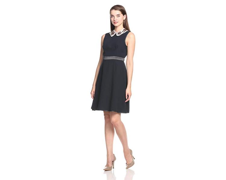 Snidel 花瓣領連衣裙 黑色降至4896日元約HK $362)