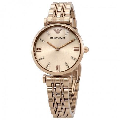 Jomashop 現有 Emporio Armani 安普裏奧·阿瑪尼 Gianni T-Bar 系列 玫瑰金色女士時尚腕表 AR11059,原價$345,現特價$171.81