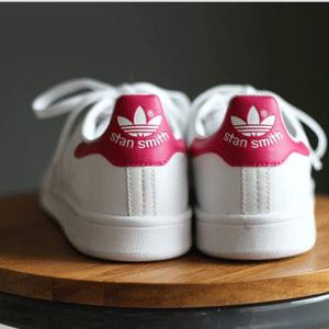 Adidas Stan Smith大童款粉尾休閒鞋湊單折後價$34.3,疊加滿減