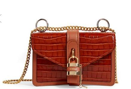 Chloé Croc-Embossed Aby Chain 新季鎖頭單肩包 港幣12,609.93(約8,228元)