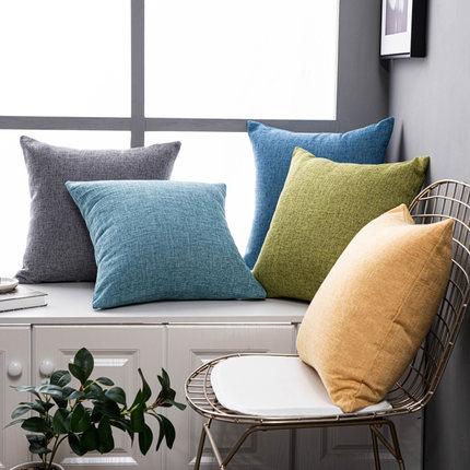 純色亞麻沙發抱枕靠墊客廳靠枕床頭大號靠背抱枕套不含芯棉麻定制【在售價】12.80 元