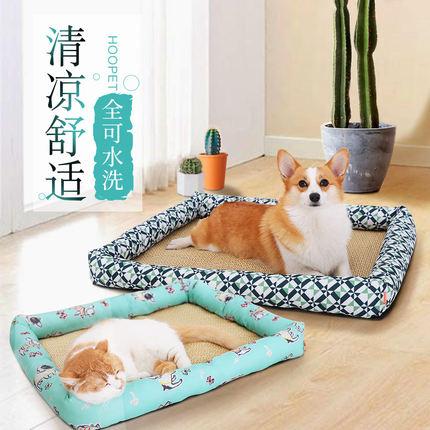 寵物貓狗冰窩夏天涼窩貓睡覺的床春夏墊子沙發用品編藤涼席寵物【在售價】9.00 元