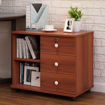 木質文件櫃矮櫃辦公室收納儲物櫃帶鎖三抽屜資料櫃移動桌邊小櫃子【在售價】85.00 元