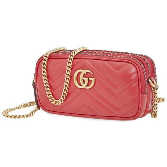 GUCCI古馳Ladies GG Marmont紅色鏈條包折後$959.88